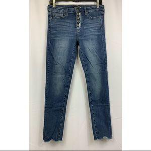 FASHION NOVA Button Fly Raw Hem Skinny Jean Size 7